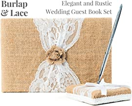 Rustic Wedding Guest Book Made of Burlap and Lace - Includes Burlap Pen Holder and Silver Pen - 120 Lined Pages for Guest Thoughts - Comes in Gift Box (Burlap Flower)