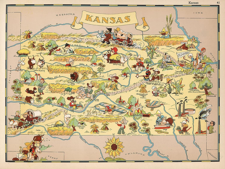 Ranking TOP11 1930's Historic KANSAS State Map Cartoon Vintage K Print Max 64% OFF Old