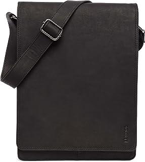 LEABAGS Leicester Umhängetasche Schultertasche 13 Zoll Laptops aus echtem Leder im Vintage Look, LxBxH: ca. 26 x 8 x 34,5 cm - Schwarz