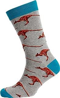 Mitch Dowd Men's Kangaroos Jacquard Crew Animal Pattern Novelty Socks