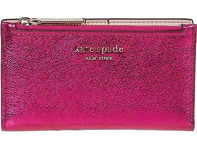 Kate Spade New York Spencer Metallic Small Slim Bifold Wallet (Metallic Rhododendron) Handbags