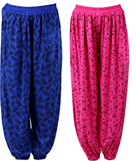 NumBrave Pink and Blue Harem Pants for Women (Pack of 2): Clothing & Accessories