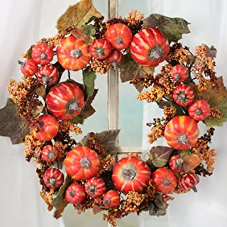 Factory Direct Craft Fall Harvest Artificial Pumpkin and Berry Wreath or Table Centerpiece Candle Ring