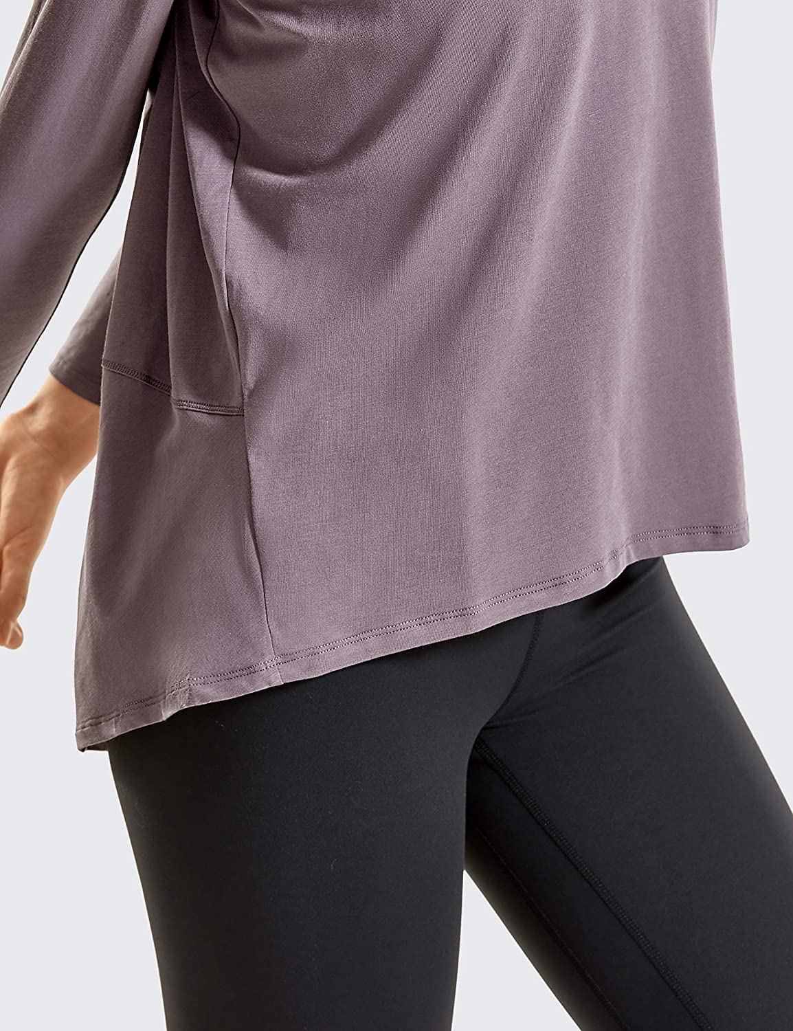 CRZ YOGA Womens Casual Long Sleeves Pima Cotton Running Workout T-Shirt Sports Boat Neck Top