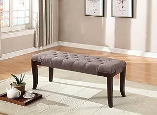 Roundhill Furniture Linon Fabric Tufted Ottoman Bench, Brown
