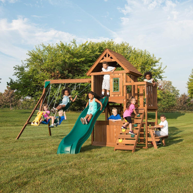 Swing-N-Slide WS 8348 Tioga Fort Swing Set, Wood