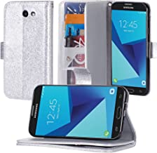 Galaxy J7 V / J7 Perx / J7 Sky Pro / J7 Prime / Galaxy Halo Case, Luxury PU Leather Wallet Flip Protective Case Cover with Card Slots and Stand for Samsung Galaxy J7 2017 (Silver)