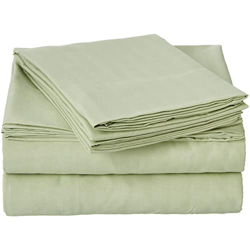 Crystal Trading Inc Queen Size Sage 400 Thread Count 100% Cotton Sateen Dobby Stripe Sheet