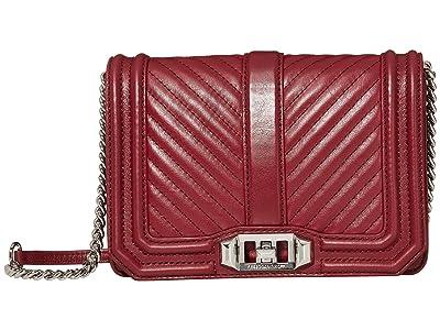 Rebecca Minkoff Chevron Quilted Small Love Crossbody (Pinot Noir) Cross Body Handbags
