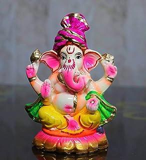 7インチ環境に優しい水溶性Ganpati for Ganesh Chaturthi、アイドルfor Home、Ganpati murti Pure Terracotta Pooja use 7 Inch(Multicolour)   Ganpa...