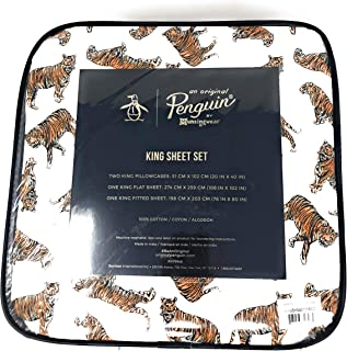 an Original Penguin Munsingwear African Safari Striped Tigers All Cotton 4-PC King Sheet Set