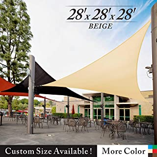 Royal Shade 28' x 28' x 28' Beige Triangle Sun Shade Sail Canopy Outdoor Patio Fabric Shelter Cloth Screen Awning - 95% UV Protection, 200 GSM, Heavy Duty, 5 Years Warranty, We Make Custom Size