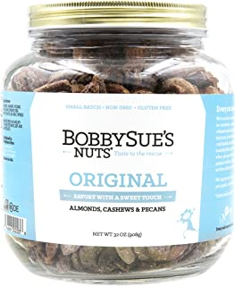 BobbySue`s Nuts Original Style Nuts - All Natural Savory Snack Nuts Mix of Almonds, Cashews, Pecans, 32oz Party Size Jar