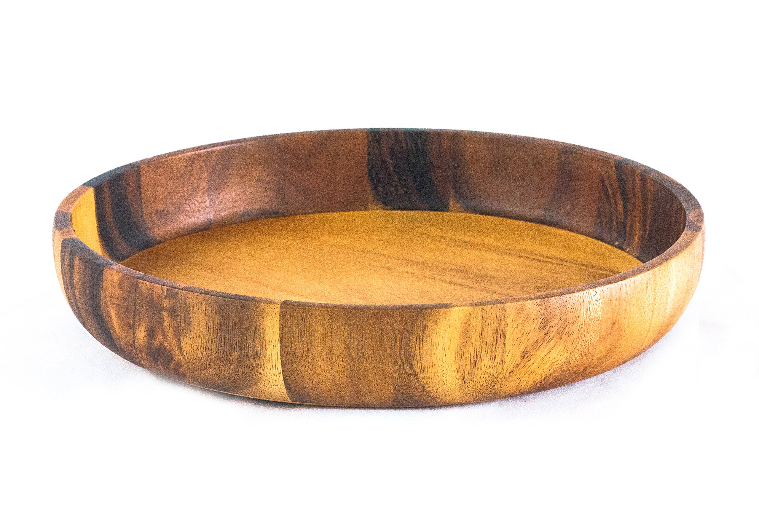 roro Handcarved Mango-Wood Creased Serving Plate with Bark Edges 12 L x 12 W