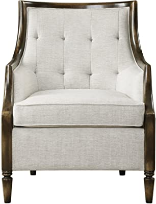 My Swanky Home Curved Back Beige Oatmeal Tufted Arm Chair | Accent Exposed Wood Mid Century