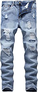 FEESON Men's Ripped Slim Fit Straight Denim Jeans Vintage Style with Broken Holes