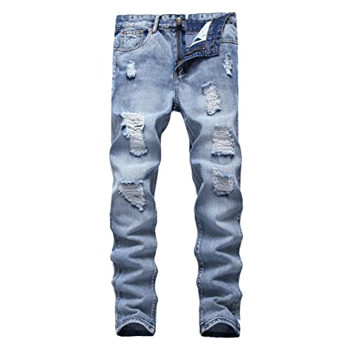 5c420881 FEESON Men's Ripped Slim Fit Straight Denim Jeans Vintage Style with Broken  Holes