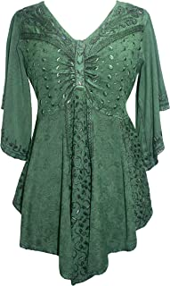Agan Traders Women's V Neck Embroidered Medieval Butterfly Beaded Bell Short Sleeve Top Blouse Tunic
