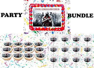Assassin's Creed Party Supplies 3 Pc Set Including Edible Image Cake Topper Frosting Sugar Sheet, Personalized Cupcakes, Lollipops Decorations