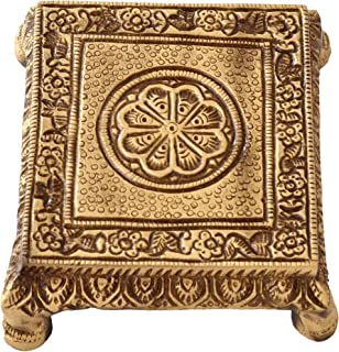 Two Moustaches Brass Pooja Chowki for Temple, Chowki for Home Decor, Antique Brown, Standard (TMA/1500)