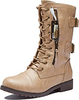 Women's Ankle Bootie High Lace up Military Combat Mid Calf Credit Card Knife Money Wallet Pocket Boots