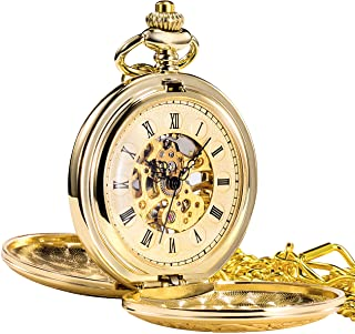 TREEWETO Men's Women's Retro Mechanical Pocket Watch Roman Numerals Case with Chain