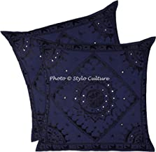 Stylo Culture Boho Indian 60 x 60 Cushion Covers 24x24 Navy Blue Living Room Large Embroidered Scatter Sofa Cushions Throw...