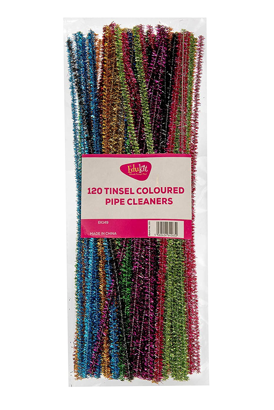 Edukit Pack of 120 Pipe Cleaners , Shiny Metallic Sparkle Tinsel, in Assorted Colours, Craft All-Purpose Wire Pipe Cleaners 28cm x 6mm.