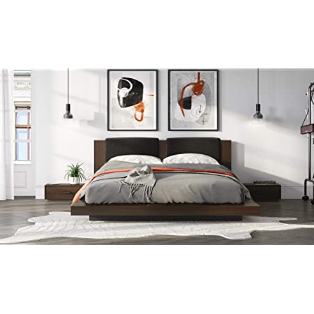 Limari Home Gerda Collection Modern Style Walnut Finished, Dark Grey Polyester Upholstered Bed and Two Nightstands with Black Metal Handles, Eastern King, Brown