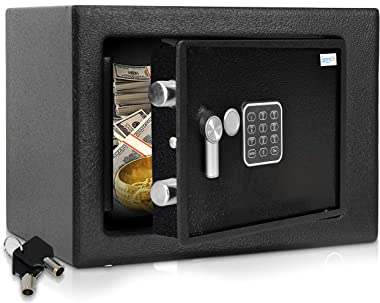 Home Security Electronic Lock Box - Safe with Mechanical Override, Digital Combination Lock Safe, LED Low Battery Indicator,