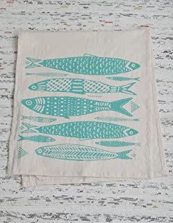 Tea Towel - Organic Cotton - Fish Design in Mint Green- Screen Printed - Flour Sack