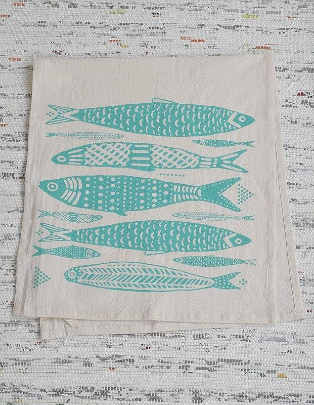 Tea Towel Organic Cotton Fish Design In Mint Green Screen Printed Flour Sack