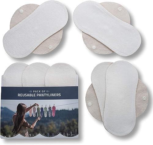 Protège-slips lavables, lot de 7 en bambou BIO; Serviettes hygiéniques avec ailes MADE IN UE; Protection Eco en tissu...
