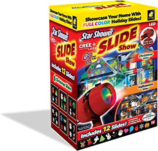 Star Shower Slide Show LED Holiday Projector by BulbHead, Indoor & Outdoor Holiday Projection Lights