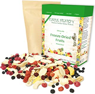 Freeze Dried Fruit: 9 Delicious Fruits Strawberry, Blueberry, Raspberry & More, 5oz (142g) Large Bulk Re-Sealable Kraft Ba...