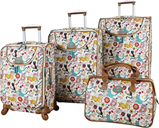 Lily Bloom Luggage Set 4 Piece Suitcase Collection With Spinner Wheels For Woman (Furry Friends)