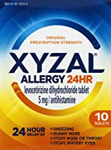Xyzal Allergy 24 Hour, Allergy Tablet, 10 Count, All Day and Night Relief from Allergy Symptoms Including Sneezing, Runny Nose, Itchy Nose or Throat, Itchy, Watery Eyes