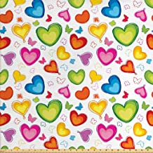 Ambesonne Love Fabric by The Yard, Colorful Hearts and Butterflies Silhouettes Doodle Style Happy Valentines Day Pattern, Decorative Fabric for Upholstery and Home Accents, 1 Yard, Green Red