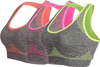 HENNY RUE Women's Racerback Padded Sports Bra Wireless Workout Yoga Bras