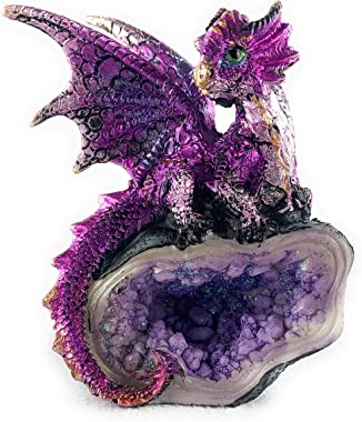 Aint It Nice Dragon Rock Faux Geode Cavern Sparkling Medieval Collectible Fantasy Figurine Statue Décor, 4 X 3 X 1.5 inches (