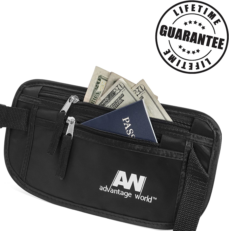 Advantage World Travel Money Belt RFID Pouch, Black