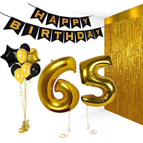 Treasures Gifted Happy 65th Birthday Decorations Wedding Anniversary Party Banner Supplies Vday Decor Balloons Bday Gifts