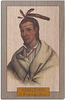 Lantern Press Amisquam - Portrait of a Winnebago Brave (12x18 Wood Wall Sign, Wall Decor Ready to Hang)