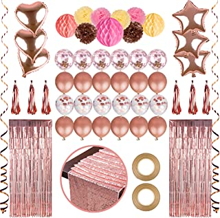 Farelot Rose Gold Party Decorations – 70 Pc Set with Confetti Balloons, Table Runner, Foil Curtains, Tassel Garland, Pom Poms and More for Weddings, Engagement, Valentines Day Decorations, Birthdays