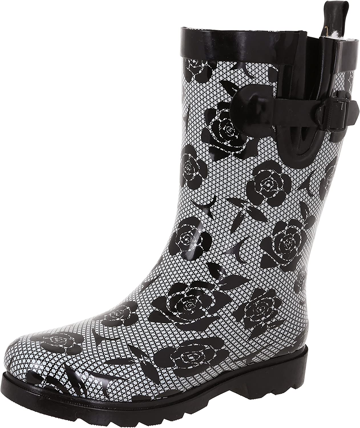 Capelli New York Ladies Shiny Lined Cozy Rubber Rain Boots