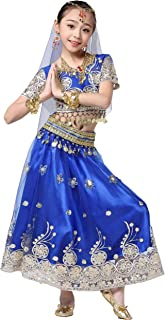 Magogo Trajes de Danza del Vientre para niñas Conjunto de 5 Piezas Bollywood Indian Arabian Performance Dress Kids Carnival Outfit