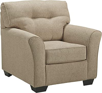 Benjara Fabric Upholstered Chair with Welt Trims and Tufted Details, Beige