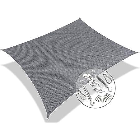vounot Voile d'ombrage Rectangulaire HDPE avec Le Kit de Fixation Protection UV Toile Ombrage Résistant Aéré et Respirant Bloque 90% Rayons UV Kit de Montage Inclus 3x5m Gris