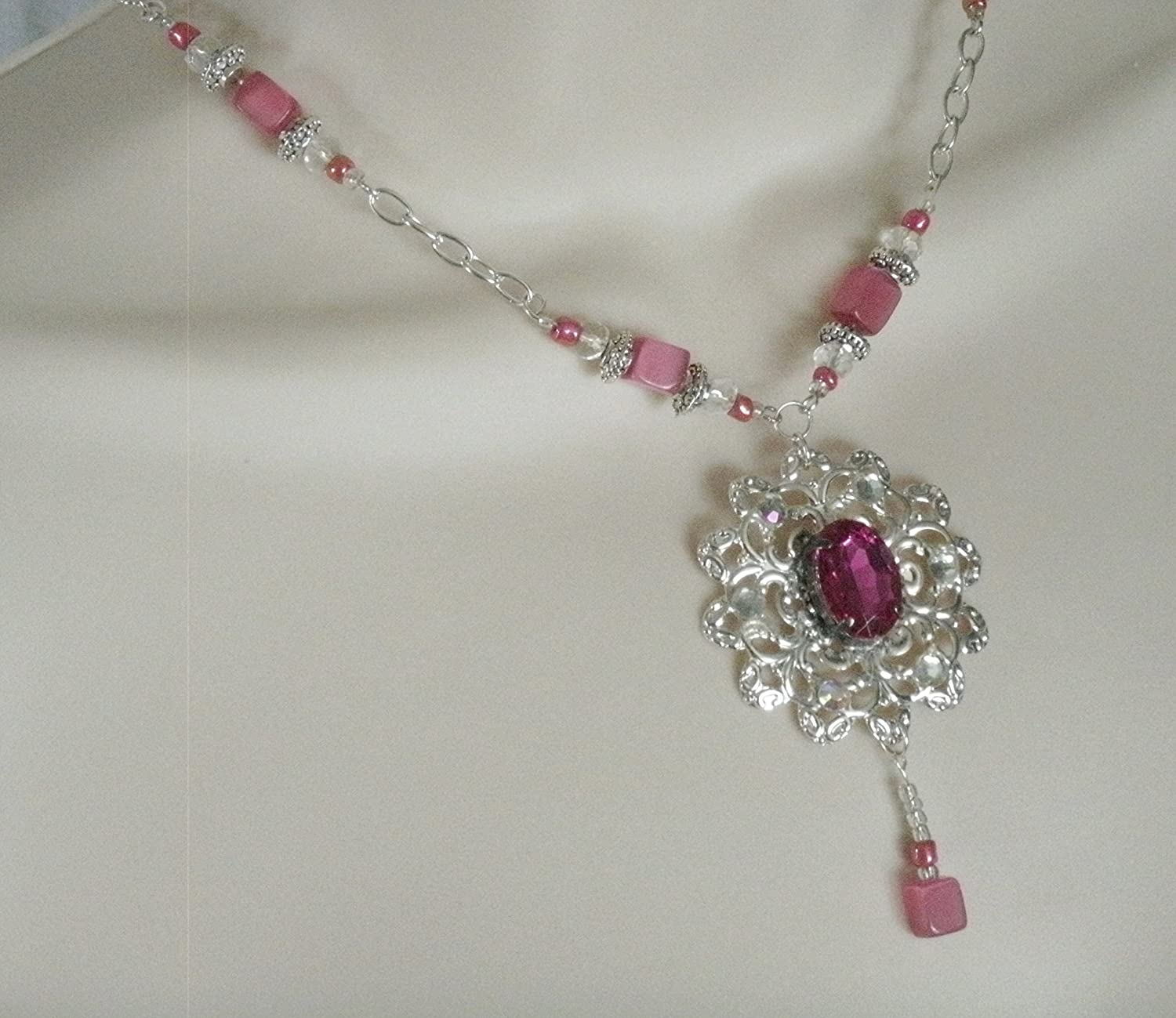 Pink Necklace handmade jewelry nouveau victorian edwardian art Easy-to-use A surprise price is realized