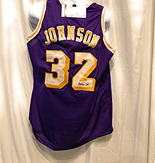 Magic Johnson Los Angeles Lakers Signed Autograph Purple Custom Jersey JSA Witnessed Certified